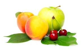 Картинка яблоко, персики, черешня