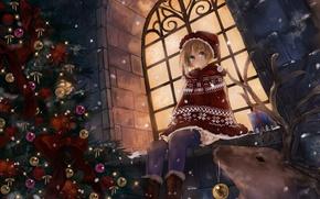 Обои праздник, зима, игрушки, снежинки, аниме, олень, ночь, снегурочка, шарики, девочка, ёлочка, снег, окно, украшения, улица, ...