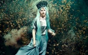 Картинка цветы, In the wandering garden, Bella Kotak, дым, девушка, платье