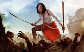 Картинка девушка, кровь, рисунок, меч, катана, бой, арт, зомби, girl, sword, zombie, blood, битва, азиатка, трупы, …