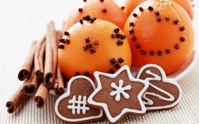 Картинка праздник, новый год, декорации, корица, happy new year, мандарины, christmas decoration, новогодние обои, christmas color, ...