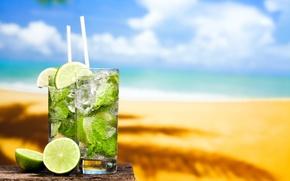 Картинка мохито, sun, drink, mojito, cocktail, lime, коктейль, море, sand, пляж, beach, tropical, fresh, лайм