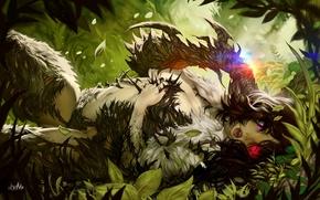 Картинка трава, листья, девушка, шипы, girl, grass, sexy, соблазн, leaf, temptation, spikes, seduction, thorns, WitchBlade, Клинок …