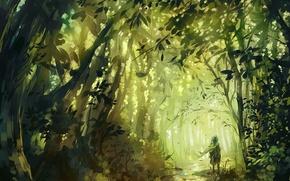 Картинка лес, деревья, человек, арт, дорожка