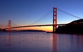 Картинка огни, Мост, вечер, Сан-Франциско, золотые ворота