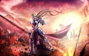 Картинка осколки, пламя, Девушка, меч, доспехи, битва, рыцарь, штурм