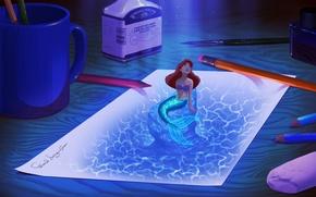 Картинка бумага, перо, рисунок, карандаши, кружка, чернила, Ариэль, русалочка, digital art, фанарт, Fan Art, письменный стол, ...