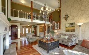 Картинка цветы, дизайн, интерьер, лестница, картины, камин, гостиная, люстра диван