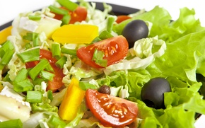 Обои оливки, onion, leaves, olives, Salad, капуста, листья, салат, pineapple, помидор, cabbage, cheese, tomato, сыр, ананас, ...