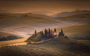 Картинка поля, дома, утро, Италия, Тоскана