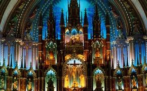 Обои готика, алтарь, собор