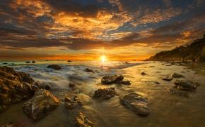 Картинка пляж, закат, Калифорния, США, Малибу