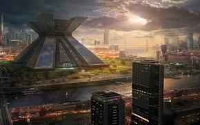Обои закат, мост, город, будущее, река, здания, небоскребы, арт, мегаполис