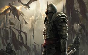 Картинка огонь, драконы, армия, доспехи, воин, знамя