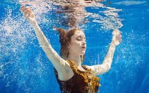 Картинка peace, underwater, water, serenity, mermaid