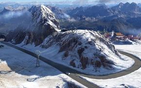 Картинка дорога, горы, дома, Зима
