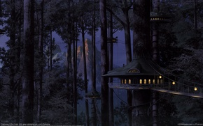 Картинка лес, домики, мосты