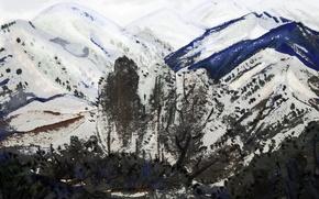Картинка осень, небо, деревья, горы, рисунок, Пейзаж
