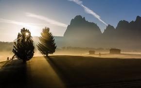 Обои утро, горы, туман, природа, пейзаж