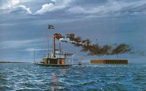 Картинка волны, река, лодка, дым, арт, форт, побег, рисунок., (Плантер), Planter, канонерская