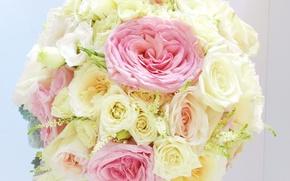 Обои букеты, розы, анемоны, цветы, фото
