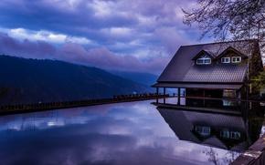 Картинка дом, отражение, Вечер, бассейн