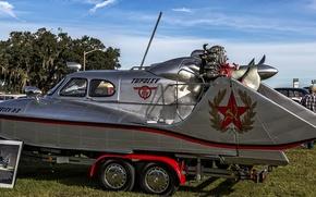 Картинка катер, Туполева А-3, Аэросани-амфибия А-3