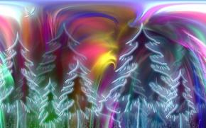 Картинка лес, природа, абстракция, цвет, форма