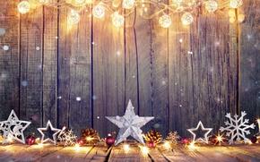 Картинка шарики, снежинки, звёзды, Рождество, Новый год, гирлянды, шишки, ёлочные украшения