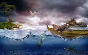 Картинка море, письмо, острова, птица, лодка, бутылка, ситуация, акула, чайка, девочка