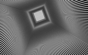 Обои лучи, туннель, оптическая иллюзия, квадрат