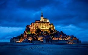 Обои гора, крепость, замок, Франция, Нормандия, Мон-Сен-Мишель, France, Normandy, Mont Saint-Michel