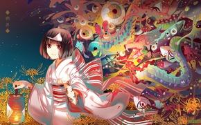 Картинка глаза, желтый, магия, существа, иероглифы, кимоно, ёкаи, Бездомный Бог, Noragami, Iki Hiyori, ликорис