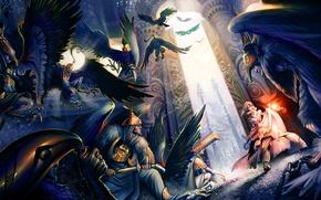 Обои Twelve Brothers, девочька, крылья, воины