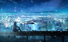 Обои небо, звезды, облака, пейзаж, ночь, город, огни, аниме, арт, парень, dias mardianto, donsaid