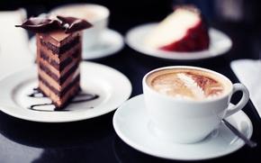 Обои сладости, кружка, кусочек торта, широкоэкранные, капучино, HD wallpapers, обои, тортик, полноэкранные, background, fullscreen, широкоформатные, фон, ...