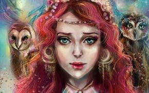 Картинка взгляд, девушка, лицо, арт, girl, совы, art, manulys