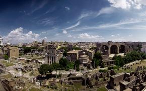 Обои пейзаж, Рим, Италия, панорама, развалины, руины, Форум