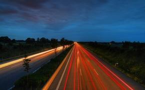 Обои ночная дорога, хай вей, high way, ночь, пейзаж