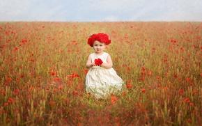 Картинка девочка, цветы, венок, поле, маки