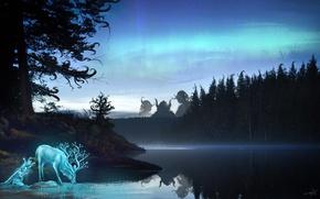 Обои лес, вода, деревья, озеро, отражение, фантастика, животное, олень, арт, существа, рога
