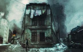 Обои война, мусор, граффити, дорога, город, грязь, девушка, белье, пожар