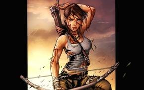 Картинка девушка, закат, оружие, лук, Лара Крофт, стрелы, колчан, game wallpapers, Lara Croft, Расхитительница Гробниц, Tomb …