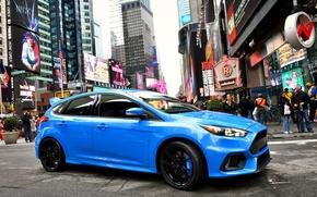 Картинка синий, город, люди, Ford, фокус, Focus, форд, US-spec, 2015