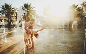 Обои двое, счастье, танец, влюбленные, фонтан