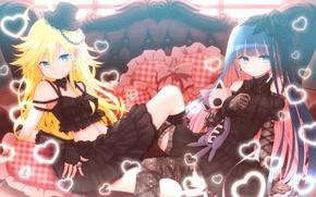 Картинка девушки, подушки, аниме, сердечки, пресвятой Подвяз, Panty And Stocking With Garterbelt, Труська, Чулко