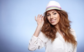 Картинка взгляд, девушка, улыбка, макияж, girl, шляпка, hat, eyes, smile, makeup