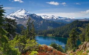 Картинка небо, деревья, пейзаж, горы, природа, озеро, вид, красота, ели