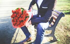 Картинка розы, букет, мужчина, парень, молодой человек