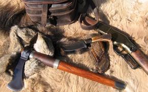 Обои нож, мех, топор, винтовка, томагавк